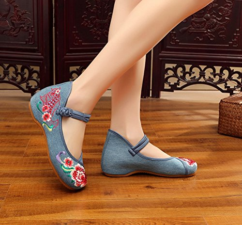 AvaCostume Womens Fish Embroideried Hot Drilling Party Dress Shoes Blue 1LxQmVo