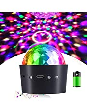 Home-Neat Wireless Disco Ball Lights Battery Operated Sound Activated LED Party Strobe Light Mini Portable RGB DJ Stage Light with USB