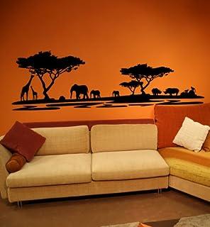 Premium Wandtattoo Wandaufkleber Afrika Elefanten Giraffen Nilpferde MAXI  XXL 1,86m X 0,6