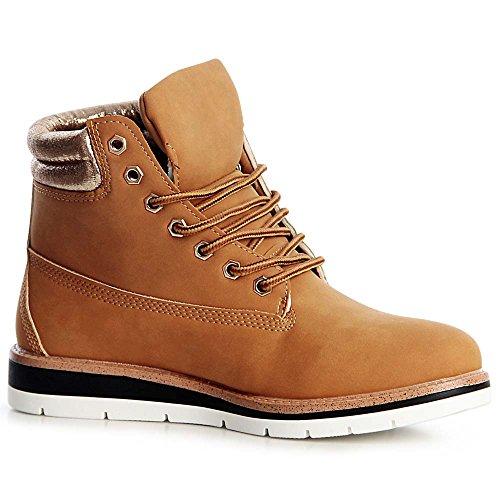 topschuhe24 1331 Damen Worker Boots Stiefeletten Metallic Plateau Camel