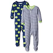 Gerber Baby Boys 2 Pack Footed Sleeper, Frogs/Stripes, 6 Months