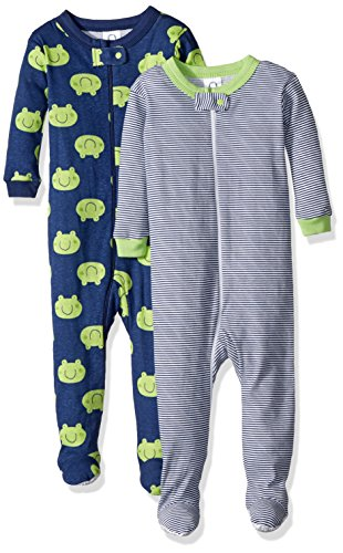Gerber Baby Boys 2 Pack Footed Sleeper, Frogs/Stripes, 12 Months
