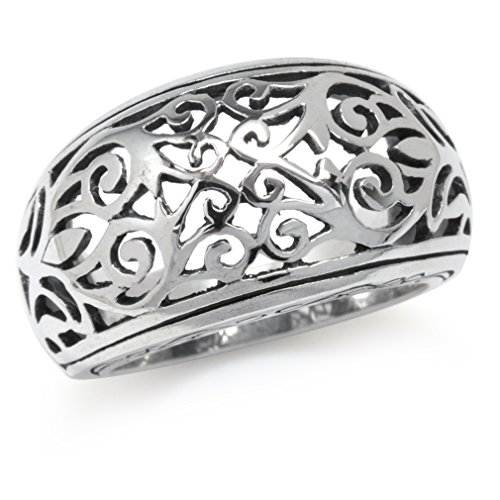 Silvershake 925 Sterling Silver Victorian Style Filigree Dome Ring Size 11