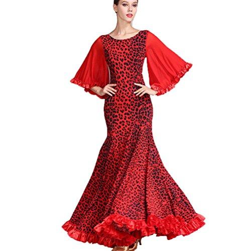 YuLin Women Modern Dancing Dress Ice Silk Printing Big Swing Skirt Trumpet Sleeves Ballroom Dance Dresses, Red, S