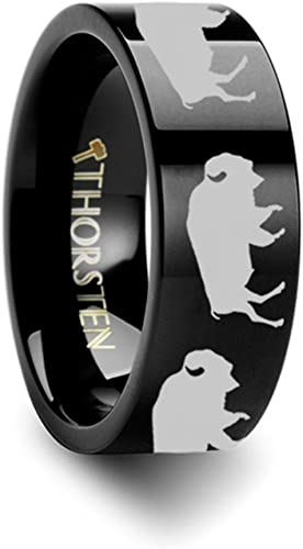 Thorsten BASS Fish Jumping Lake Stream Sport Fish Print Pattern Flat Black Tungsten Ring 12mm Wide Wedding Band from Roy Rose Jewelry