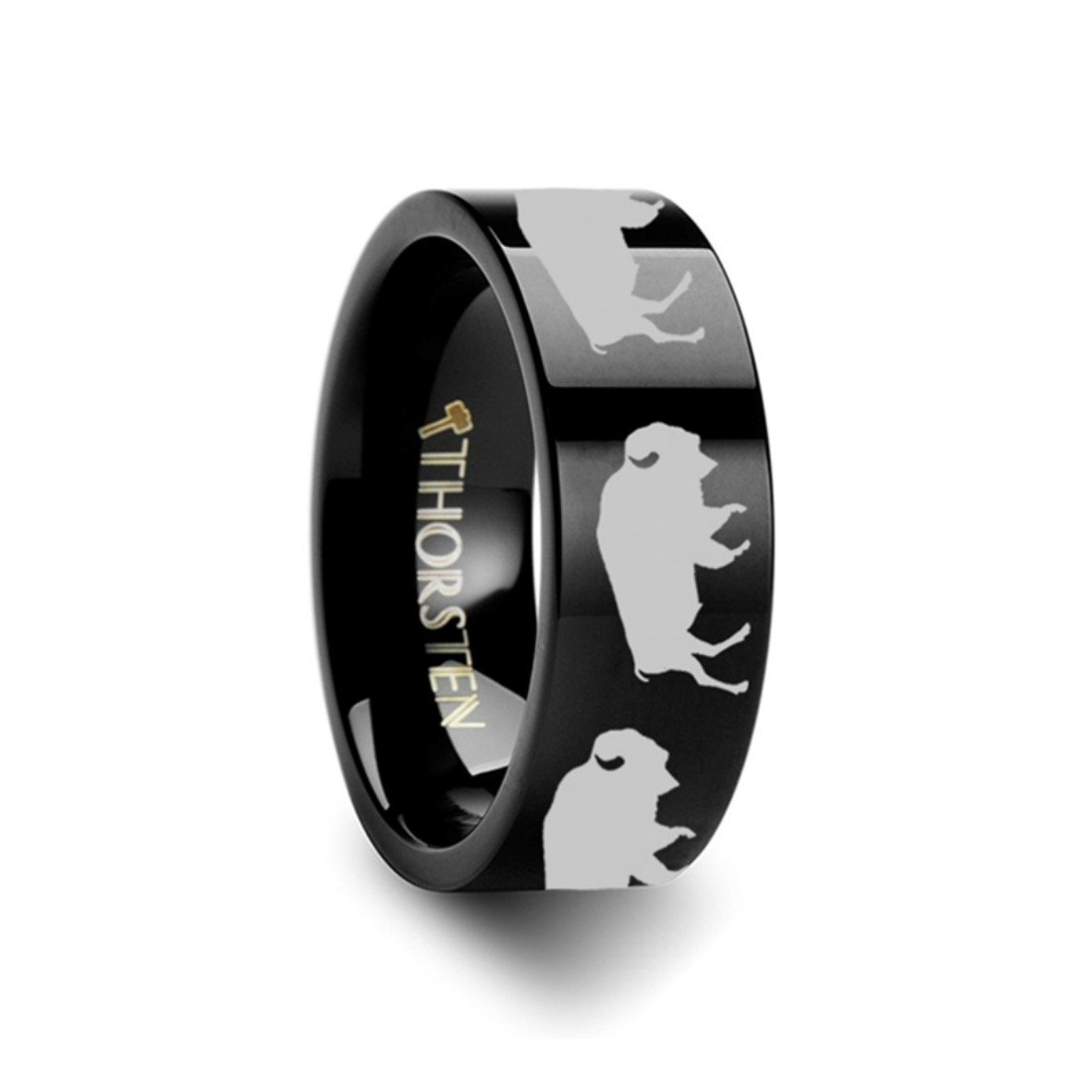 Thorsten Nature Animal Wildlife American Buffalo Bison Print Pattern Flat Black Tungsten Ring 6mm Wide Wedding Band from Roy Rose Jewelry