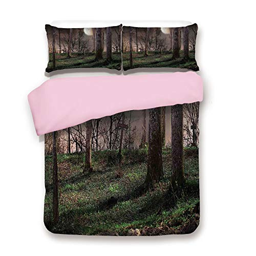 Pink Duvet Cover Set,FULL Size,Dark Night in the Forest with Full Moon Horror Theme Grunge Style Halloween,Decorative 3 Piece Bedding Set with 2 Pillow Sham,Best Gift For Girls Women,Brown Green Yello for $<!--$108.89-->