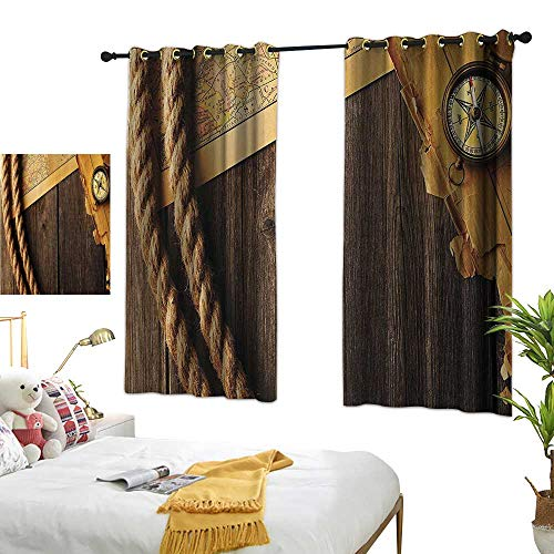 Warm Family Room Curtains Compass Decor Collection,Antique Brass Compass and Rope Over Old Map on Wooden Timber Table Illustration,Brown Gold 72