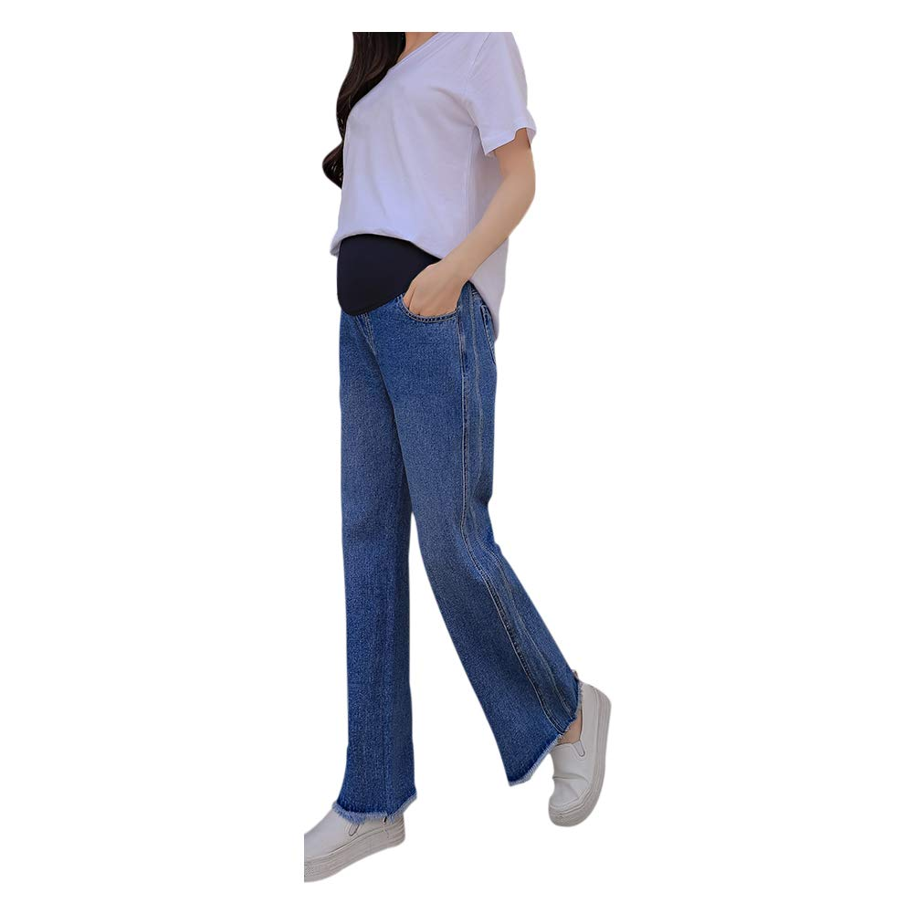 9d23f8eeda085 Hzjundasi Maternity Jeans - Women Pregnant Soft Pants Adjustable Care Casual  Elastic Denim Trousers Over The Bump: Amazon.co.uk: Clothing