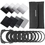 Neewer Complete Neutral Density Filter Kit for Cokin P Series Filter System:Full ND Filter Set(ND2,ND4,ND8,ND16)+Graduated ND Filter Set(G.ND2,G.ND4,G.N8,G.ND16)+Adapter Rings+Filter Holder