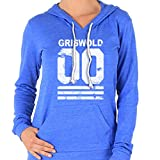 New Womens Frosty Tees Griswold Football Jersey Christmas Alternative Apparel Hoodie Royal Blue Xl