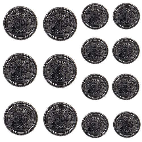 Chris.W 14 Pieces Antique Metal Blazer Buttons Set for Suits, Sport Coat, Uniform, Jackets, 6 Pieces 20mm and 8 Pieces 15mm, Shank Style(Gun Black)