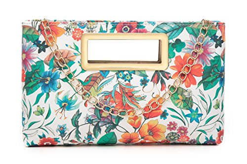 Aitbags Clutch Purse for Women Evening Party Tote with Shoulder Chain Strap Lady Handbag-Floral -