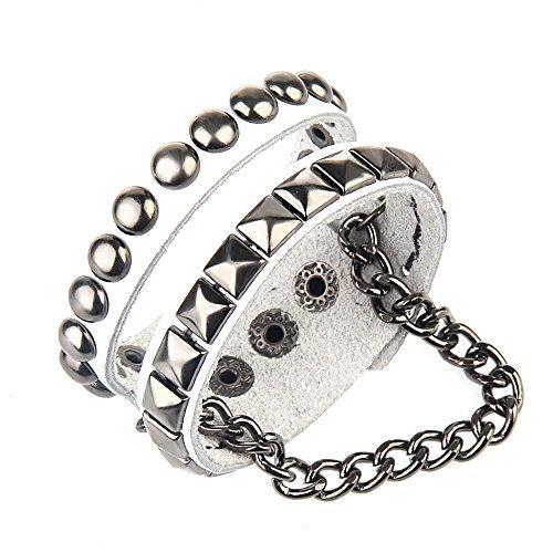 Bystar Punk Bracelet Unisex Rock Rivet Retro Multi Circle Heart Chain 4-Color Genuine Leather Creative Wrap For Men / Women (White(Rivet Bracelet only)) - Multi Circle Bracelet