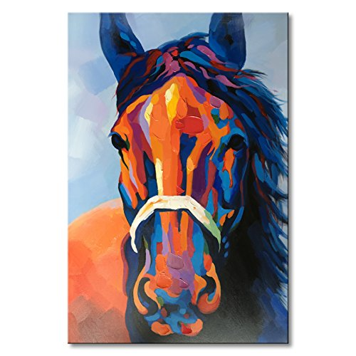 Hand Painted Colorful Abstract Horse Wall Art Modern Oil Painting on Canvas