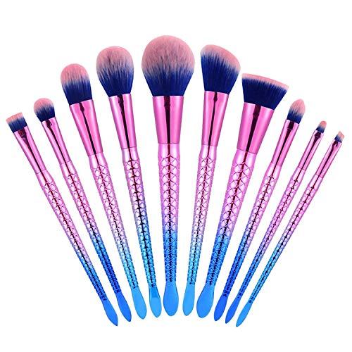 Brush Stylish - Adpartner Mermaid Makeup Brushes, 10 PCS Makeup Brush Set Stylish Gradient Color 3D Fish Scale Handle Professional Face Kabuki Foundation Eyeshadow Make Up Kit