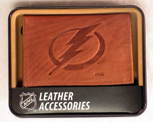 Rico Industries NHL Tampa Bay Lightning Embossed Leather Trifold Wallet, Tan ()