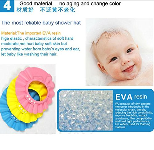 Edtoy Adjustable Shower cap ,protect Shampoo for baby health Bathing waterproof hat ,kid Wash Hair Shield Hat (Blue)