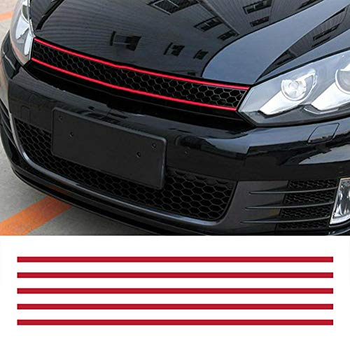 Cacys-Store - Front Hood Grille Decals Car Strip Sticker Decoration for VW Golf 6 7 Tiguan asy to stick and remove stickers car