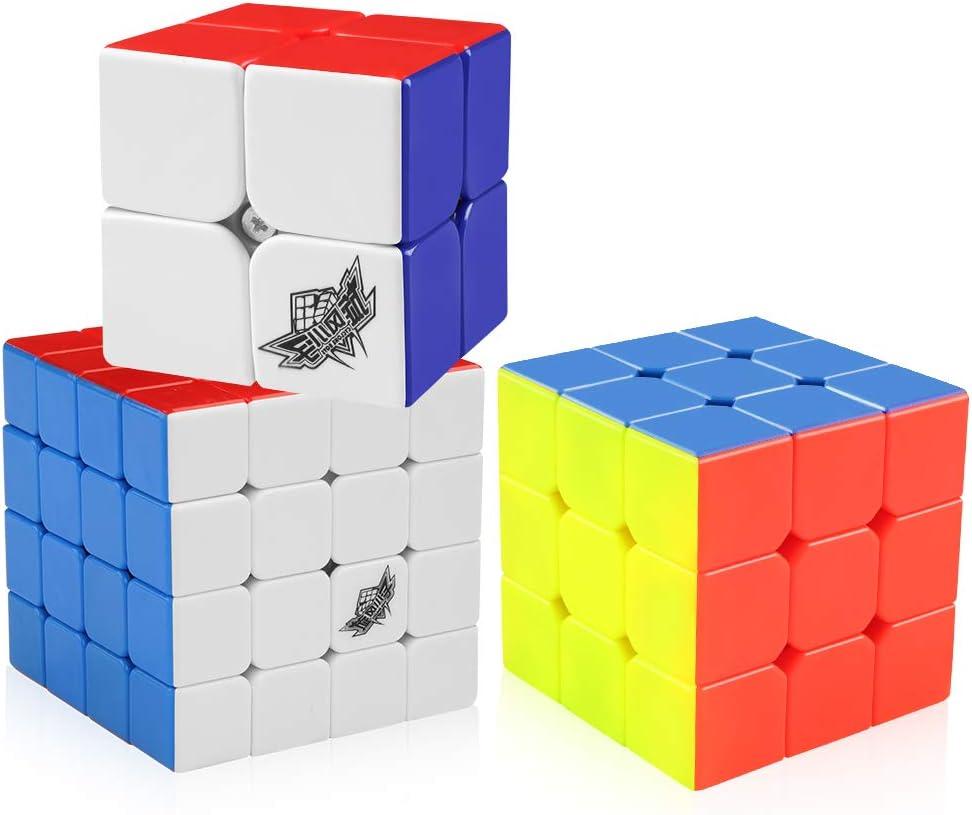 Magic Cube Puzzle Toys Kids D-FantiX Carbon Fiber 2x2 3x3 Speed Cube Set