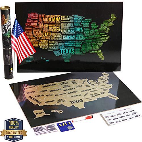 (OutFormal Scratch Off Map of America - Stylish Us Map Scratch Off Laminated Poster - United States Map Art - Gold USA Map - Travel Map Poster with States and Cities - Travel Gift with Flag)