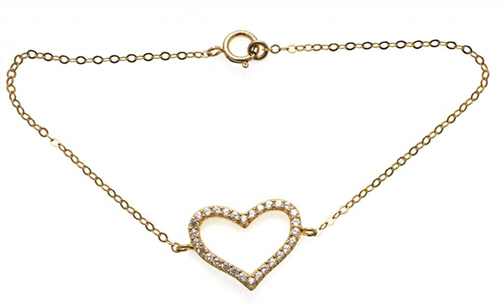 6+0.8 Extender Gold Filled Cubic Zirconia Heart Bracelet for Women NanoStyle Jewelry