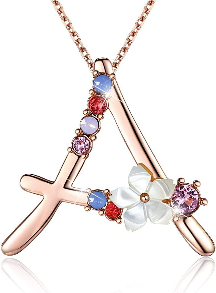 Details about  /Azaggi Sterling Silver Initial Letter W Flower Pink Leaves Pendant Necklace Gift