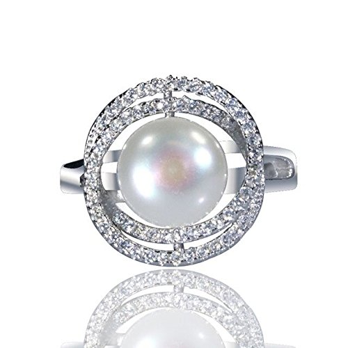 Elegant J. NY Rhodium Plated Silver Swirl Statement Ring With White Pearl And CZ Crystals For Women (8) ()