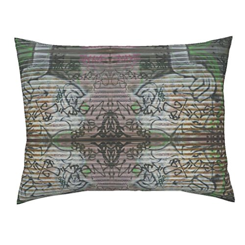 Roostery Pink Euro Knife Edge Pillow Sham Urbane Rococo Renewal by Susaninparis Natural Cotton Sateen made by (Urban Renewal Case)