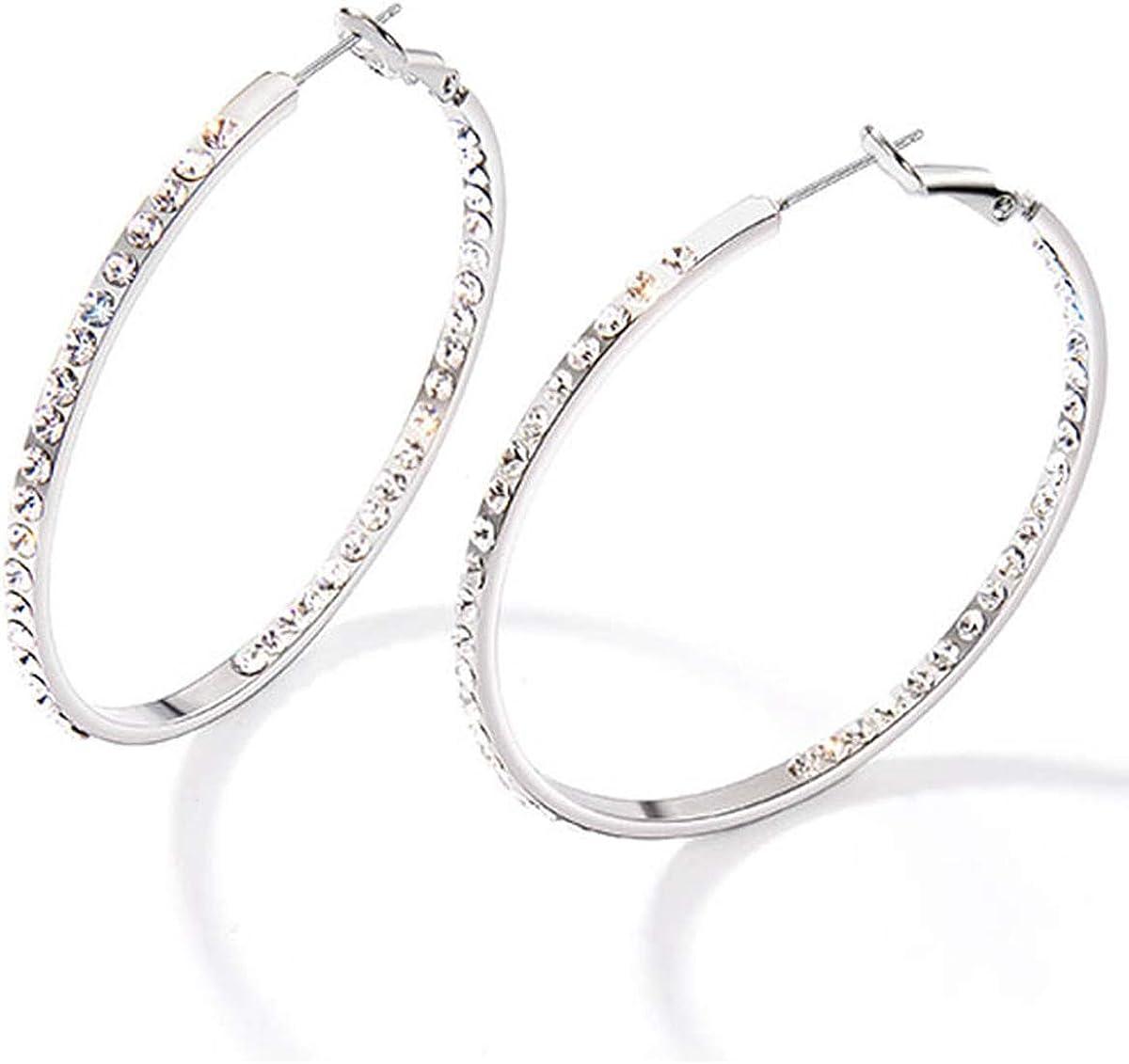 Stainless Steel Round Hoop Earrings Set for Women Girls/… Cereza Big Hoop Earrings