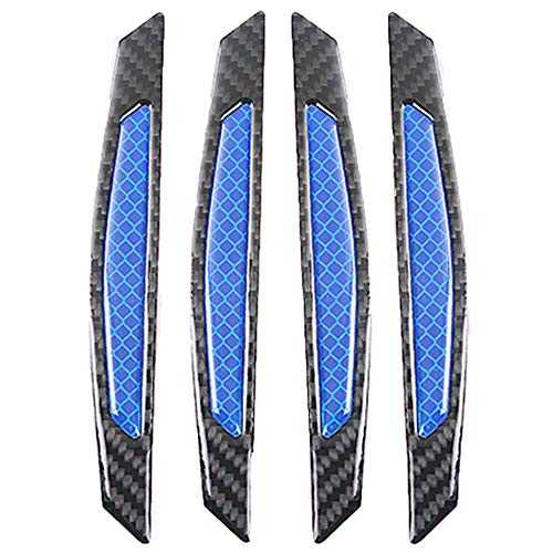 ZYTC 4pcs 3D Super Blue Reflective Stickers Black Carbon Fiber Strips Car Side Door Edge Bumper Anti-Scratch Protection Guards Trim Stickers Universal