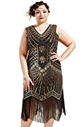 BABEYOND Women's Plus Size Flapper Dresses 1920s V Neck Beaded Fringed Great Gatsby Dress