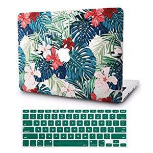 "KEC MacBook Pro 13"" Retina Case (2015) w/ KeyBoard Cover Plastic Hard Shell Rubberized A1502/A1425 (Palm Leaves Red Flower)"