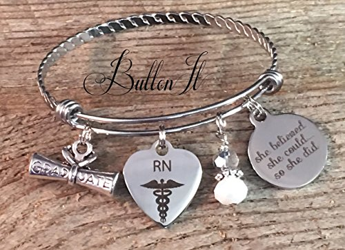 RN gifts, Nurse gifts, She Believed she could so she did, Bangle bracelet, Nurse graduation gift, Nurse Graduate, accomplishment, charm bracelet