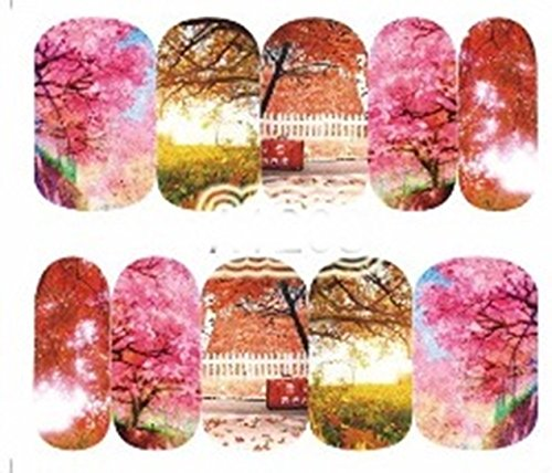 1 Pack Colorful Fall Season Tree Red Maple Leaf Nail Art Stickers Water Transfer Nails Wrap Paint Tattoos Stamper Plates Templates Tools Tips Kits Eminent Popular Stick Tool Vinyls Decals Kit, Type-07
