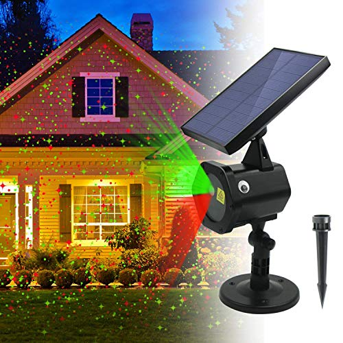 ezbnb Star Solar Laser Lights - New 2018 Upgraded Version Solar Christmas Lights Red Green Dancing Lights -Waterproof Outdoor Laser Lights Projector with for Holiday, Party, Wedding, Disco