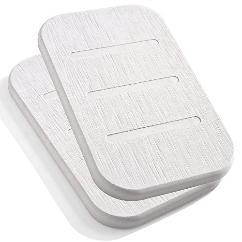 Diatomite Soap Dish, Anti-bacterial Soap Bar Holder, Absorbent Soap Saver and Clay Coasters 2 Pack, Made from Self-dry Diatomaceous Earth by Marbrasse (Beige Oblong) -