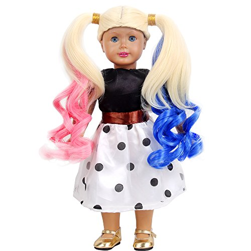 Man Baby Doll (STfantasy American Girl Doll Wigs Harley Quinn Costume Long Curly Ombre Hair for 18
