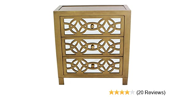 . River of Goods Drawer Chest  Womens Glam Slam 3 Drawer Mirrored Wood  Cabinet Furniture   Gold