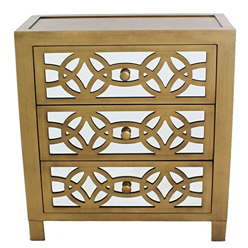 River of Goods Drawer Chest: Womens Glam Slam 3-Drawer Mirrored Wood Cabinet Furniture - Gold (Mirrored Nightstand Gold)
