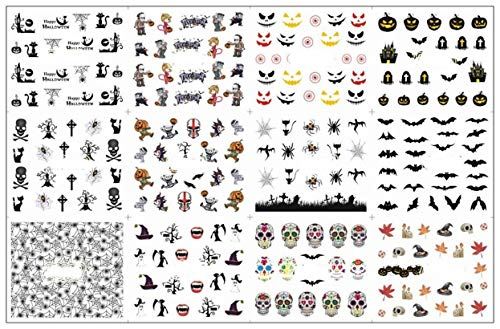 12 Pack Halloween Spider Bat Skeleton Nails Art Stickers Tattoo Professional Girls Stamper Plates Significant Popular Manicure Brushes Tool Nail Wraps Kits ()