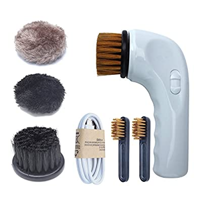 Ablevel Portable Rechargeable Electric Shoe Polisher with 3 Brush Heads for Leather Bag, Shoes,Sofa and More