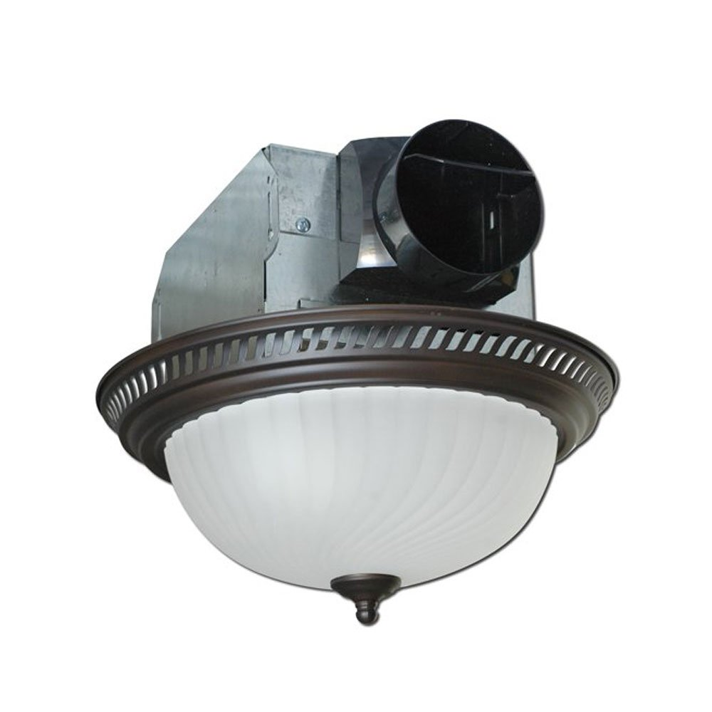 Air King AKLC701 Decorative Quiet Round Bath Fan with Light, Bronze