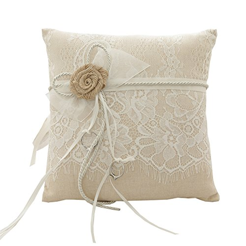 Tangser Rring Bearer Pillow, Wedding Ring Pillow for Ceremony, Personalize Wedding Rings Holders with Beautiful Lace & Flower 8.2