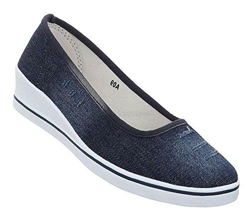 Damen Schuhe Halbschuhe Keil Wedges Slipper Modell Nr.1Dunkelblau