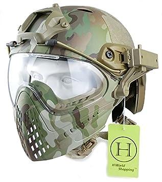 H World UE - Casco integral táctico para airsoft o painball, con gafas de visión