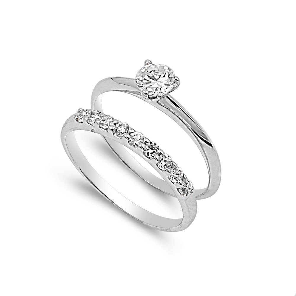 CloseoutWarehouse Round Center with Round Stones Cubic Zirconia Wedding Set Ring Sterling Silver Size 9