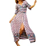 Misscat Women Floral Print Dress Round Neck Vintage Split Beach Boho Maxi Dress