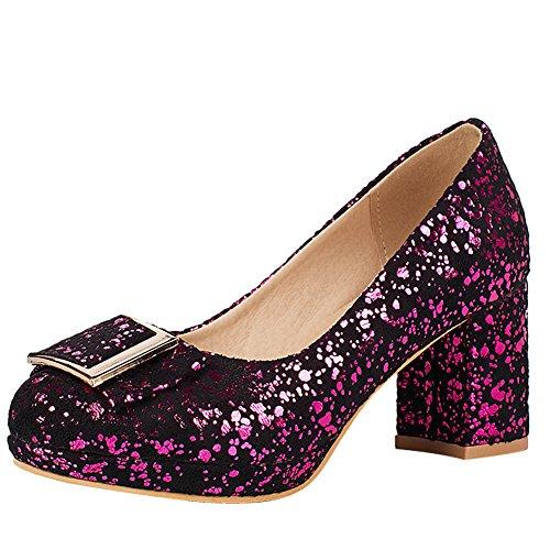 Carolbar Womens Shiny Chic Elegance Party High Heels Pumps Shoes Rose Red Pkjhrg