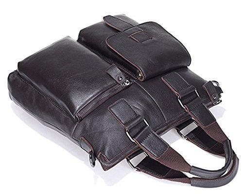 Los hombres Xinmaoyuan Bolsos Bolso Retro sección Vertical Cuero Hombre de negocios,Bolso maletín marrón Café